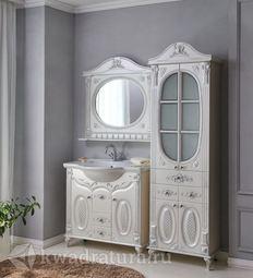 Мебель для ванной Atoll Наполеон 95 белый жемчуг/патина серебро