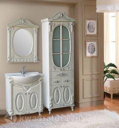 Мебель для ванной Atoll Наполеон 75 белый жемчуг/патина серебро