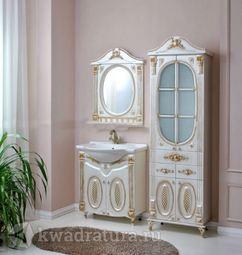 Мебель для ванной Atoll Наполеон 75 белый жемчуг/патина золото
