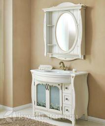 Мебель для ванной Atoll Ривьера 1 белый c золотом ромашка