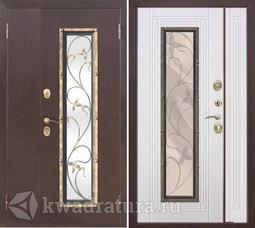 Входная металлическая дверь со стеклопакетом Плющ Белый ясень 1200
